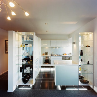 Inspiration for a contemporary u-shaped kitchen remodel in Wellington with flat-panel cabinets, white cabinets and glass sheet backsplash
