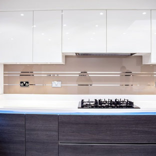 """MIRROR STRIPES ON ANTELOPE COLOUR"" glass kitchen splashback"