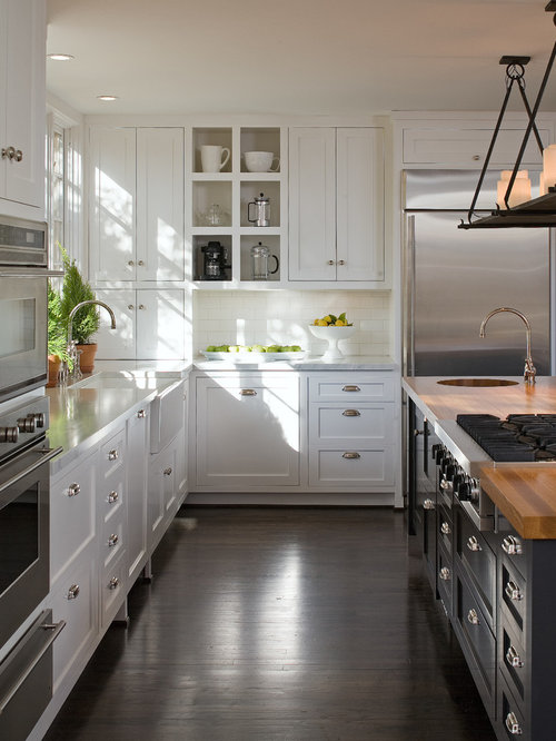 large farmhouse u shaped enclosed kitchen idea in san diego with shaker cabinets an