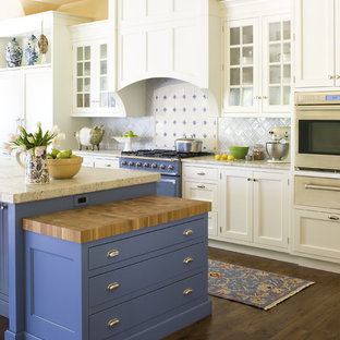 Design ideas for a traditional kitchen in Denver with recessed-panel cabinets, coloured appliances and blue cabinets.