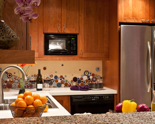 Kitchen design ideas renovations amp photos with recycled glass