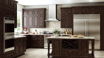 Mocha cabinets still make a statement with natural stone accents enhanced with s