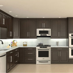 Model# 4D Chocolate Maple recessed Panel Kitchen Cabinets - Model# 4D Chocolate Maple recessed Panel Kitchen Cabinets display kitchen