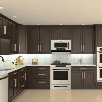 Model# 4D Chocolate Maple recessed Panel Kitchen Cabinets