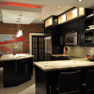 Inspiration for a contemporary kitchen in Toronto with flat-panel cabinets, black cabinets and multi-coloured splashback.