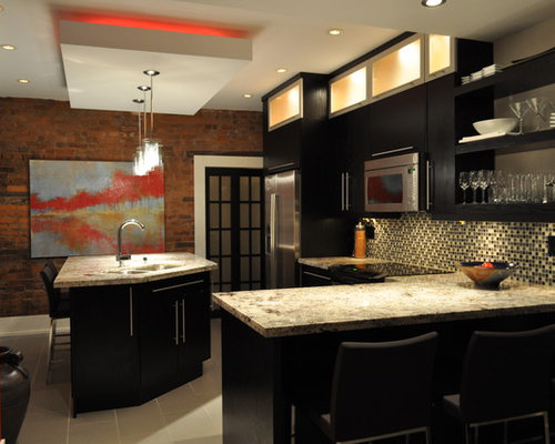 ... with flat-panel cabinets, black cabinets and multicolored backsplash