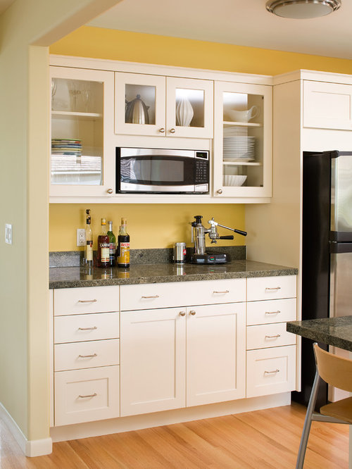 Open shelf above microwave ideas pictures remodel and decor for Built in drinks cabinet