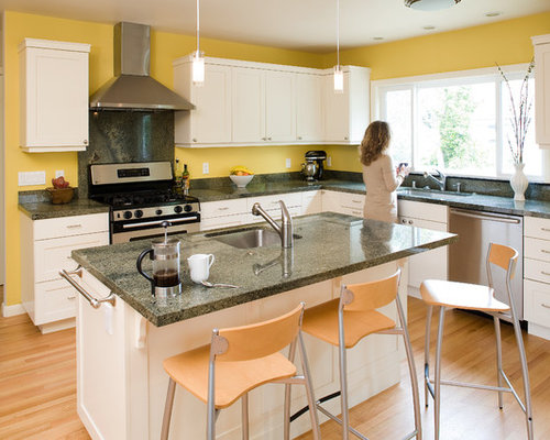 Yellow Walls White Cabinets Houzz