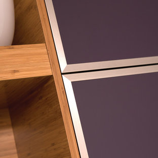 Modern Bamboo Kitchen Cabinetry: Close Up of Aluminum Framed Cabinet doors with