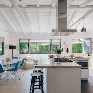 オレンジカウンティの小さいビーチスタイルのおしゃれなキッチン (フラットパネル扉のキャビネット、白いキャビネット、クオーツストーンカウンター、シルバーの調理設備、グレーのキッチンカウンター、黒い床) の写真