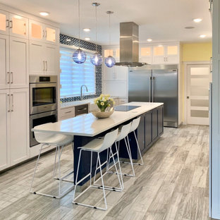 Modern Blue & White Kitchen and Laundry