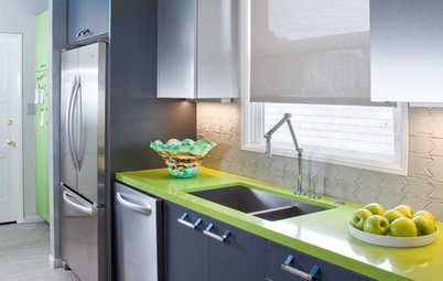 Green, Teal and Stainless Steel Rev Up a Bachelor's Kitchen