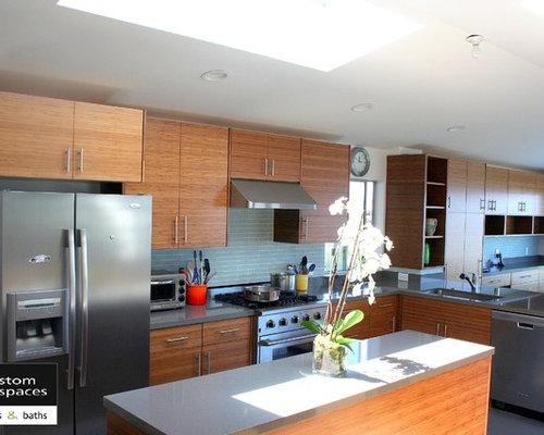 Grey quartz countertops houzz for Bamboo kitchen cabinets australia