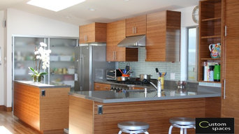 Modern carbonized bamboo kitchen with quartz countertops