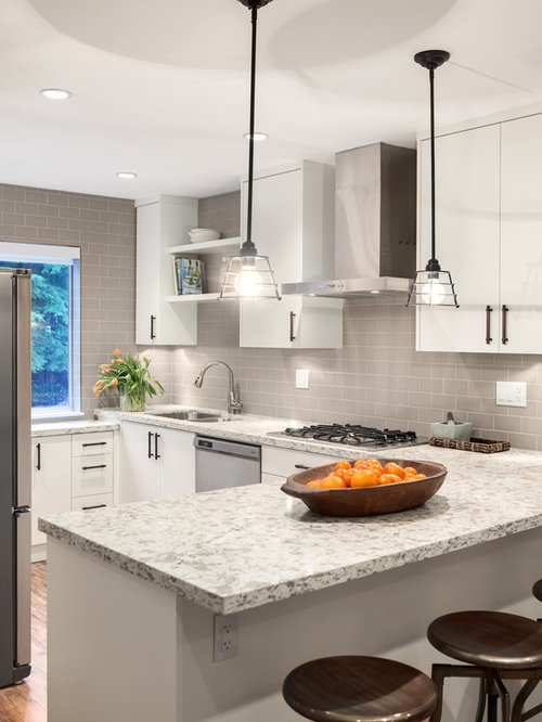 gray subway tile backsplash houzz - White Kitchen With Subway Tile Backsplas