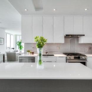 Inspiration pour une petit cuisine américaine parallèle minimaliste avec un évier encastré, un placard à porte plane, des portes de placard blanches, un plan de travail en quartz modifié, une crédence grise, une crédence en feuille de verre, un électroménager en acier inoxydable, un sol en bois brun, un îlot central, un sol gris, un plan de travail blanc et un plafond à caissons.