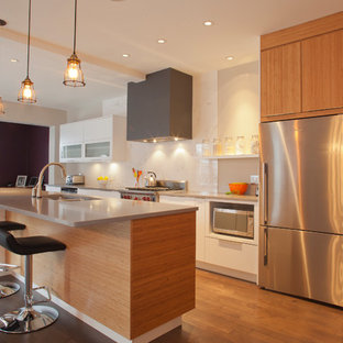 Modern kitchen appliance - Minimalist galley medium tone wood floor kitchen photo in Other with an undermount sink, flat-panel cabinets, medium tone wood cabinets, white backsplash and stainless steel appliances