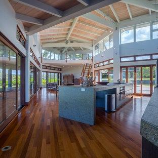 ハワイの巨大なモダンスタイルのおしゃれなキッチン (フラットパネル扉のキャビネット、グレーのキャビネット、コンクリートカウンター、無垢フローリング) の写真