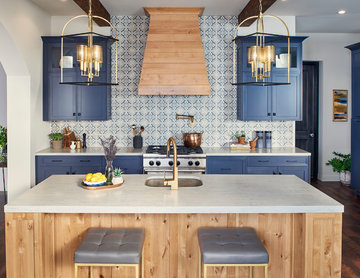 Modern/Contemporary Spanish Kitchen in Blue and Rustic Alder