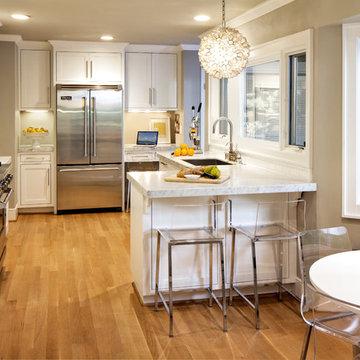 Modern Contemporary White & Carrara Marble Kitchen