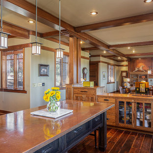 Craftsman kitchen inspiration - Arts and crafts u-shaped dark wood floor and brown floor kitchen photo in Other with shaker cabinets, medium tone wood cabinets, copper countertops and an island