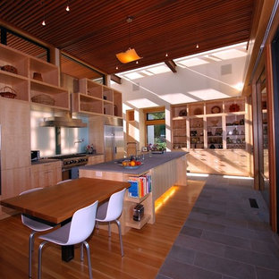 Contemporary open concept kitchen inspiration - Example of a trendy single-wall open concept kitchen design in San Francisco with flat-panel cabinets, light wood cabinets and stainless steel appliances