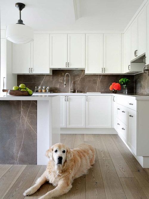 Transitional Kitchen Idea In Toronto With Stone Slab Backsplash