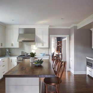 Mid-sized transitional kitchen pantry designs - Kitchen pantry - mid-sized transitional u-shaped kitchen pantry idea in Chicago with shaker cabinets, white cabinets, marble countertops, white backsplash and an island