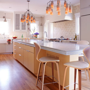 Inspiration for a contemporary eat-in kitchen in San Francisco with zinc benchtops, glass-front cabinets, light wood cabinets, beige splashback, panelled appliances and a farmhouse sink.