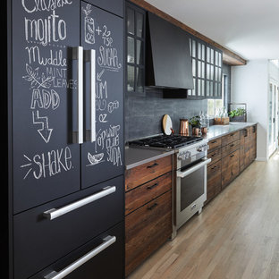 75 Beautiful Industrial Kitchen With Dark Wood Cabinets