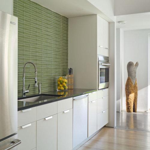 Mid Sized Farmhouse Single Wall Light Wood Floor Open Concept Kitchen Idea  In Burlington