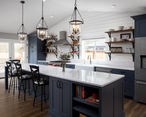 Large Farmhouse Open Concept Kitchen Inspiration   Inspiration For A Large  Farmhouse Galley Vinyl Floor And