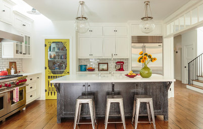 Yellow Pantry Door Steals the Show in a Modern Farmhouse Kitchen