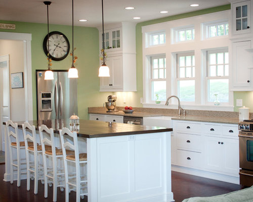 White Kitchen Green Walls green walls white cabinets | houzz