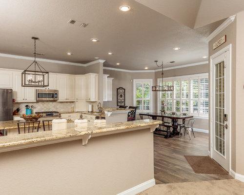 Landhausstil wohnküchen mit teppichboden ideen und design