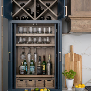 Modern Farmhouse Kitchen with a Full Home Bar in a Compact Beverage Center Larde
