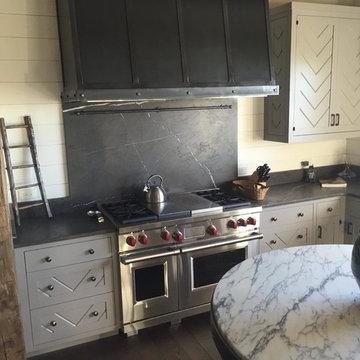 Modern Farmhouse Kitchen with Custom Counters and Backsplash