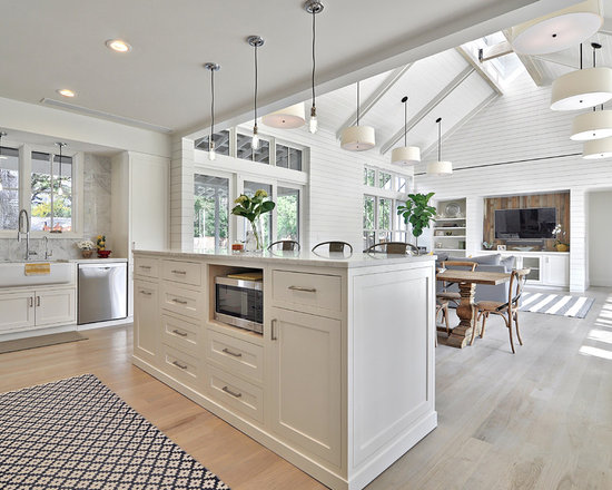 White Kitchen Family Room family room kitchen combo | houzz