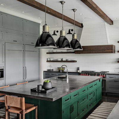 Inspiration for a large cottage u-shaped dark wood floor and brown floor kitchen remodel in New York with a single-bowl sink, shaker cabinets, gray cabinets, concrete countertops, white backsplash, wood backsplash, stainless steel appliances, an island and black countertops
