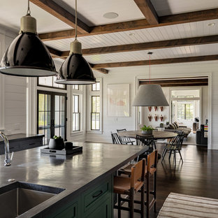 Large farmhouse eat-in kitchen appliance - Example of a large country u-shaped dark wood floor and brown floor eat-in kitchen design in New York with a single-bowl sink, shaker cabinets, gray cabinets, concrete countertops, white backsplash, stainless steel appliances, an island, black countertops and shiplap backsplash