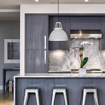 Modern Flatiron Loft Renovation - Custom Gray Kitchen