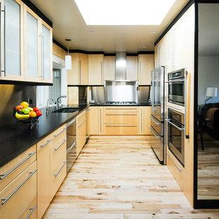 Diseño de cocina de galera, contemporánea, de tamaño medio, con armarios con paneles lisos, puertas de armario de madera clara, electrodomésticos de acero inoxidable y suelo de madera clara