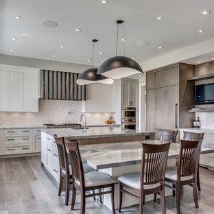 カルガリーの広いモダンスタイルのおしゃれなキッチン (ドロップインシンク、フラットパネル扉のキャビネット、白いキャビネット、御影石カウンター、白いキッチンパネル、セラミックタイルのキッチンパネル、シルバーの調理設備、無垢フローリング、茶色い床、茶色いキッチンカウンター) の写真