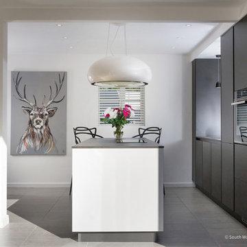 Minimalist Modern Black and White Kitchen in Bridgend