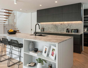 Modern, Grey V-Groove Kitchen with Butlers Pantry