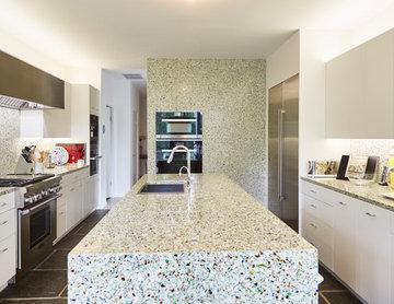 Modern Hillside Home Bistro Green Kitchen