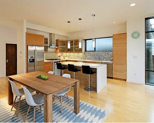 Kitchen Design Ideas Renovations Photos With Multi Coloured Splashback And Bamboo Flooring