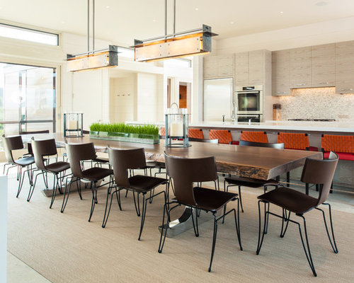 Inspiration For A Large Contemporary Kitchen/dining Room Combo Remodel In  Boston With White Walls
