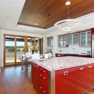 Moderne Küche mit roten Schränken, flächenbündigen Schrankfronten, Küchengeräten aus Edelstahl und roter Arbeitsplatte in Sonstige