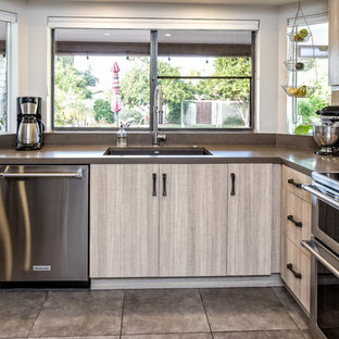 This is an example of a large industrial l-shaped eat-in kitchen in Phoenix with a drop-in sink, flat-panel cabinets, light wood cabinets, concrete benchtops, brown splashback, metal splashback, stainless steel appliances, ceramic floors, with island and grey floor.